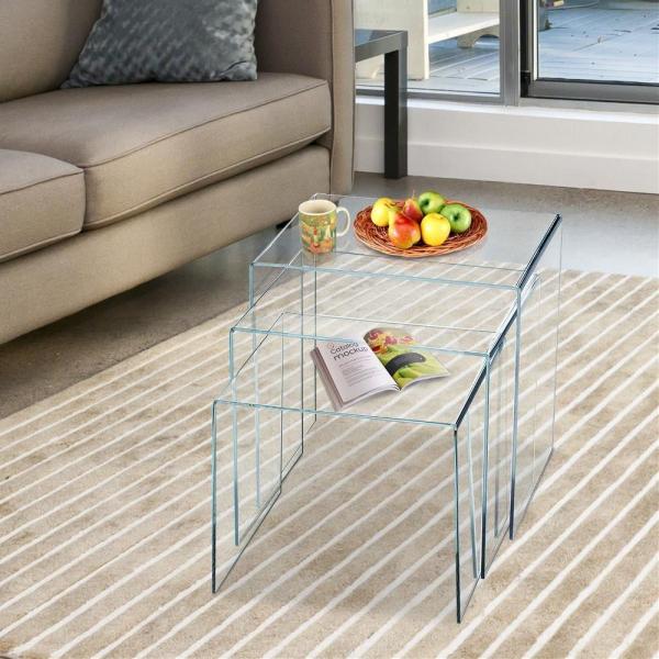 set tavolino da caff tavolino in plexiglass acrilico tavolo da pranzo 3 pezzi 1 1